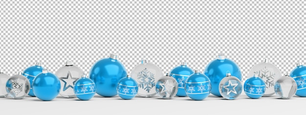 Cut out isolated blue and glass christmas baubles lined up Premium Psd
