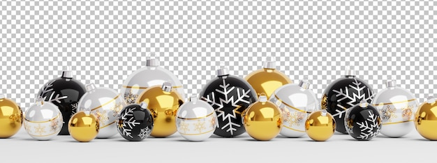 Cut out isolated golden and black christmas baubles lined up Premium Psd