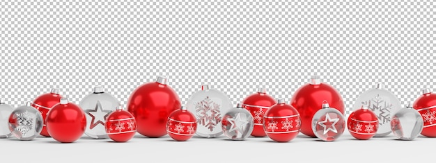 Cut out isolated red and glass christmas baubles lined up Premium Psd