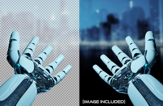 Cut out open robot hands isolated Premium Psd