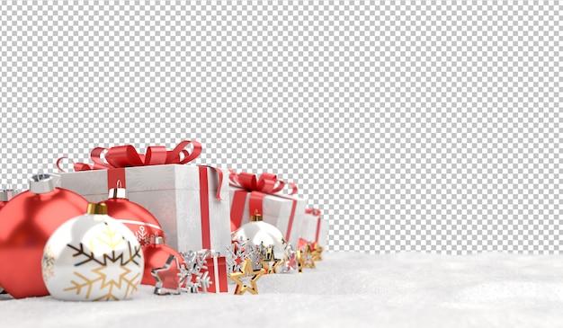Вырежьте красные рождественские шары и подарки на снегу Premium Psd