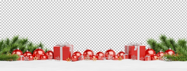 Cut out red christmas baubles and gifts lined up Premium Psd