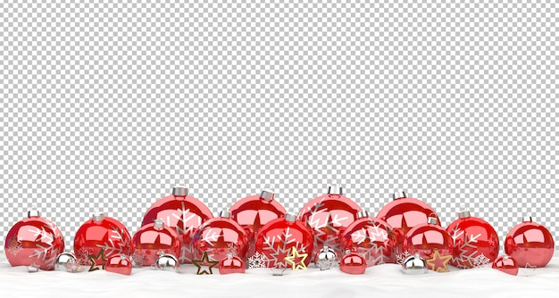 Cut out red christmas baubles  lined up on snow Premium Psd
