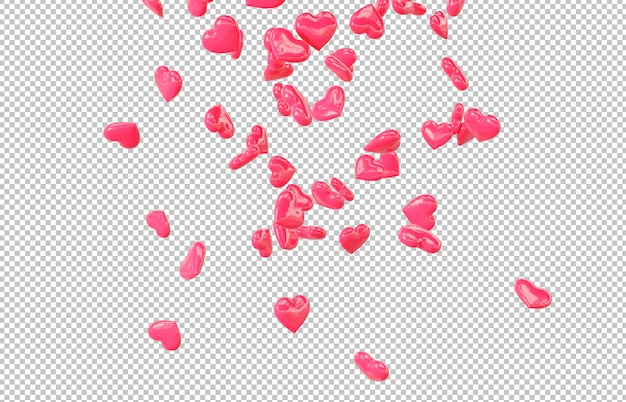 Cut out red falling hearts Premium Psd