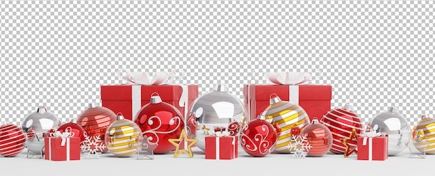 Cut out red silver and golden christmas baubles and gifts lined up Premium Psd