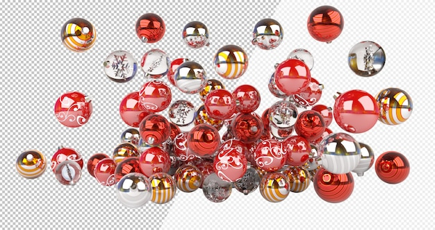 Cut out red silver and golden christmas baubles Premium Psd