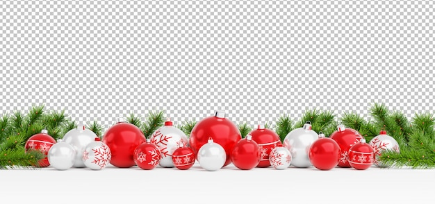Cut out red and white christmas balls lined up Premium Psd