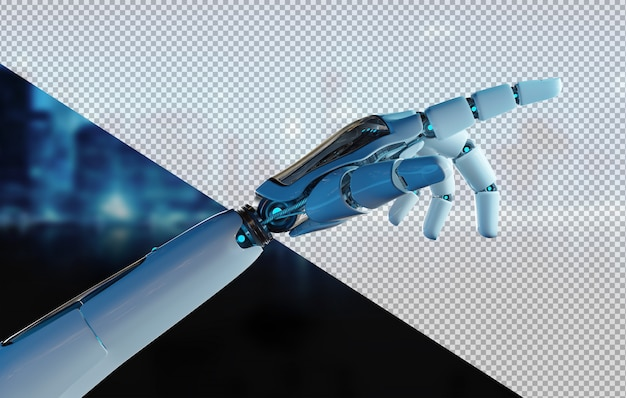 Cut out robot hand pointing finger Premium Psd