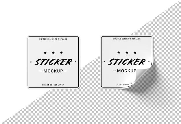 Cut out squared sticker mockup Premium Psd