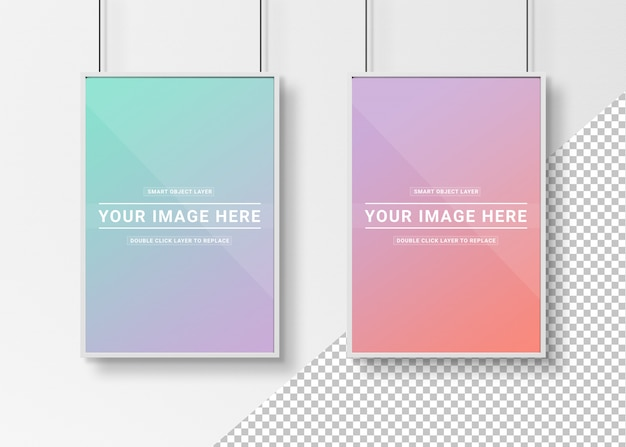 Cut out white photo frames hanging mockup Premium Psd