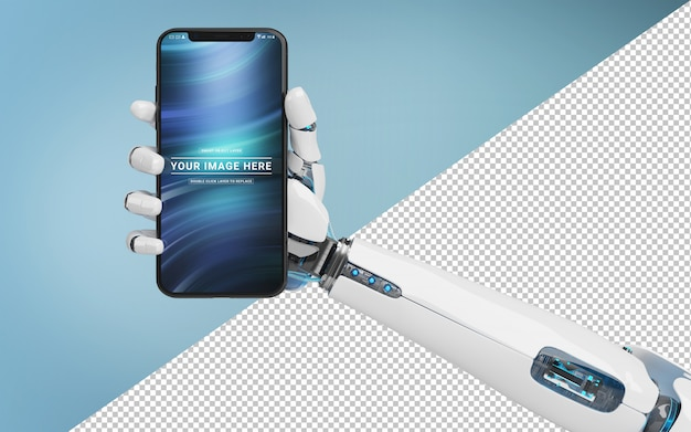 Cut out white robot hand holding modern smartphone mockup Premium Psd