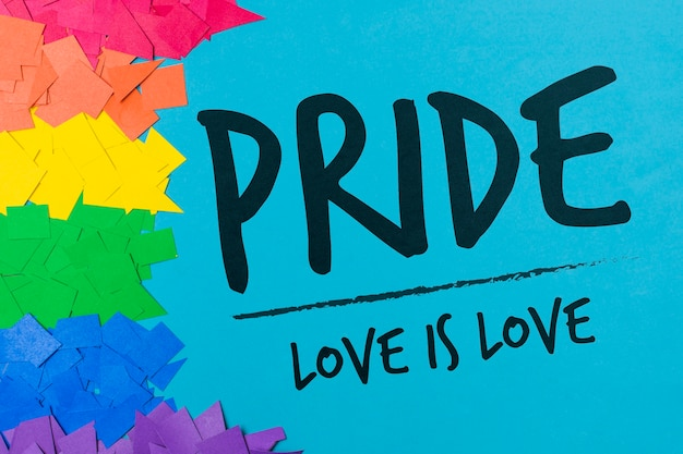 Cut papers gay pride mockup Free Psd