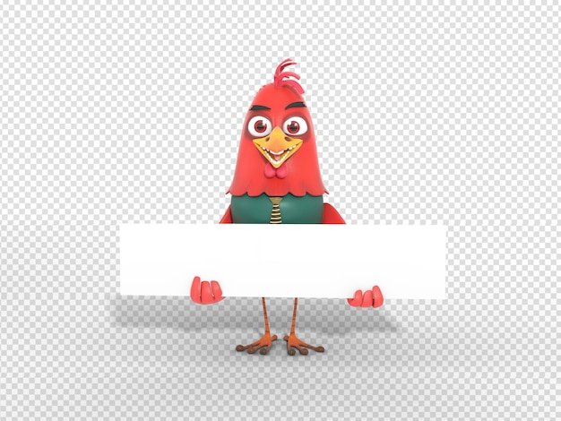Cute 3d character illustration holding blank header banner for advertisement Premium Psd