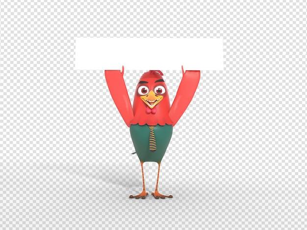 Cute 3d character render holding blank header banner for advertisement Premium Psd