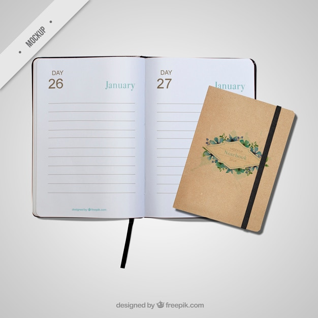 Cute appointment book mockups Free Psd