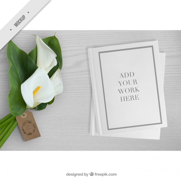 Cute bouquet with paper mockup for your work Free Psd