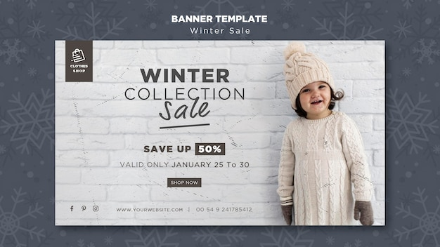 Cute child winter collection sale banner template Free Psd