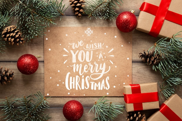 Cute Christmas Gifts With Mock Up Psd File Free Download