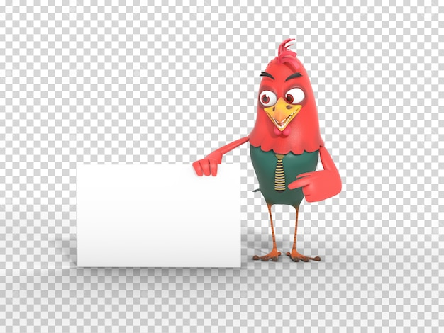 Cute Colorful 3d Character Mascot Illustration Holding And Pointing At Banner With Transparent Background Premium Psd File