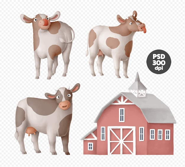 Cute cow characters clipart isolated Premium Psd