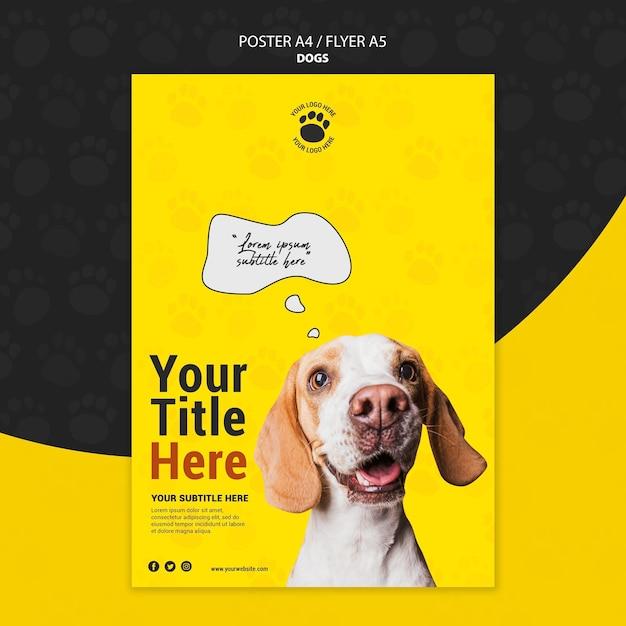 Симпатичный дизайн плаката собаки Бесплатные Psd