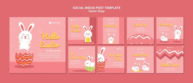 Cute easter day instagram posts template Free Psd
