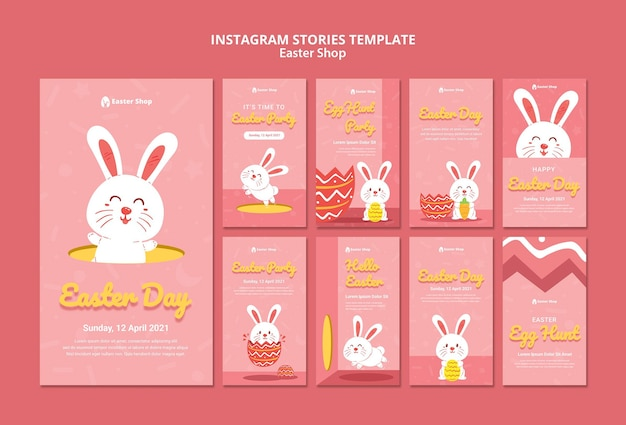 Cute easter day instagram stories template Free Psd