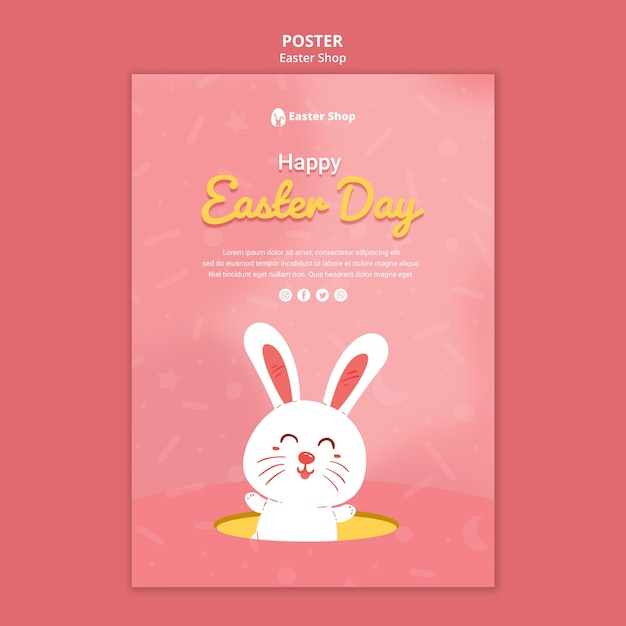 Cute easter day poster template Premium Psd
