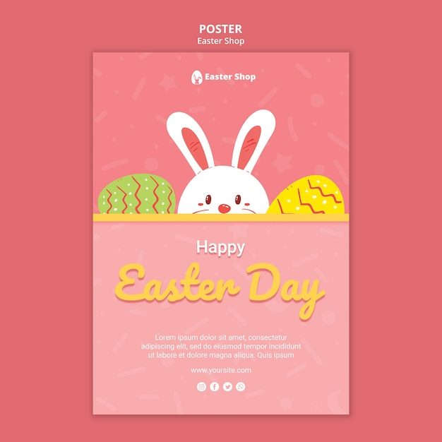 Cute easter day poster template Free Psd