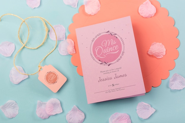 Cute fifteen birthday invitation with petals and rope Free Psd