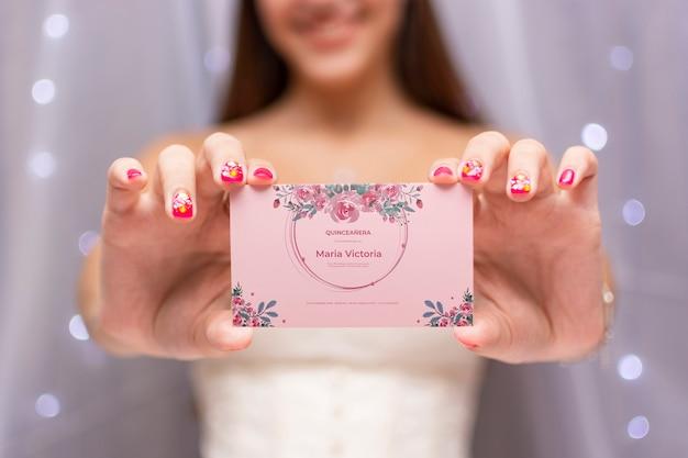 Cute girl celebrating her sweet fifteen invitation card Free Psd