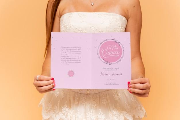 Cute girl celebrating her sweet fifteen invitation Free Psd