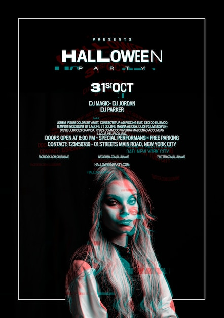 Cute girl on halloween poster with glitch effect Free Psd