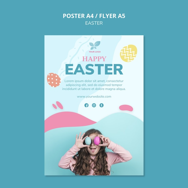 Cute girl with colourful eggs poster template Free Psd