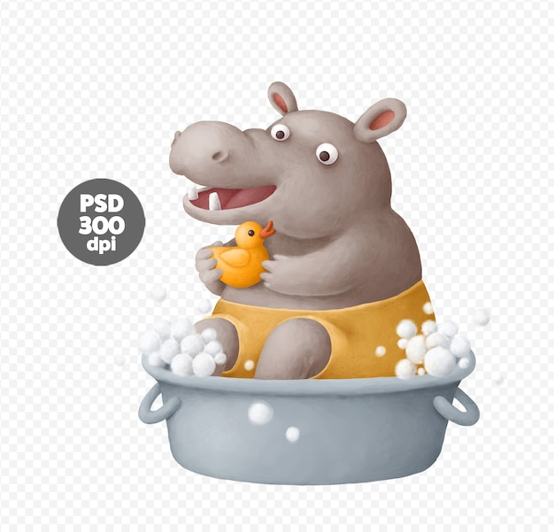 Cute hippo taking a bath illustrations Premium Psd