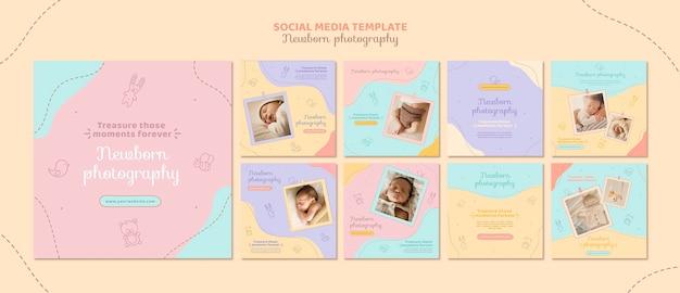 Пост в соцсети для фотосессии новорожденного Premium Psd