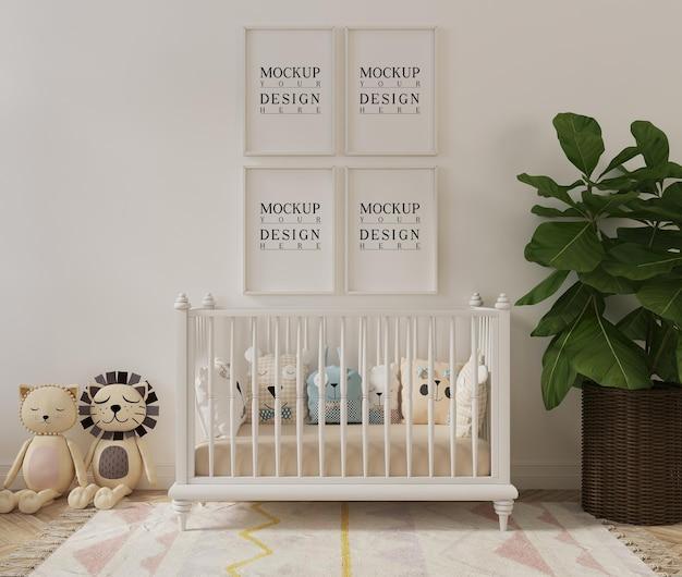 Милая детская комната с игрушечной рамкой для макета плаката Premium Psd