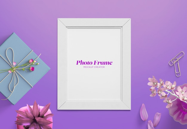 Cute photo frame mockup custom scene Premium Psd