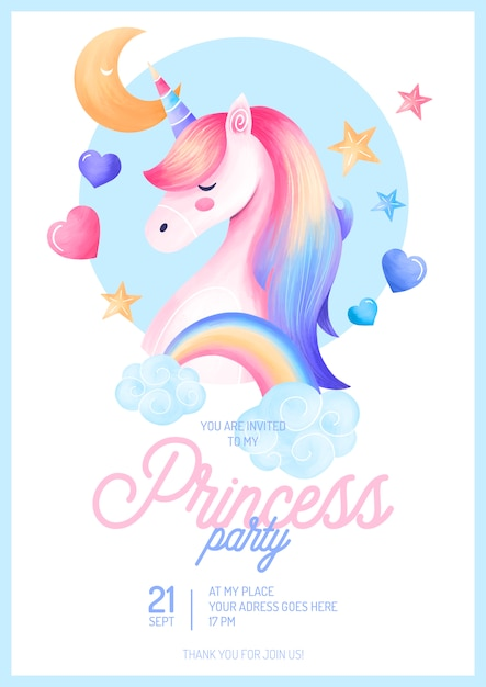 Cute princess party invitation template Free Psd