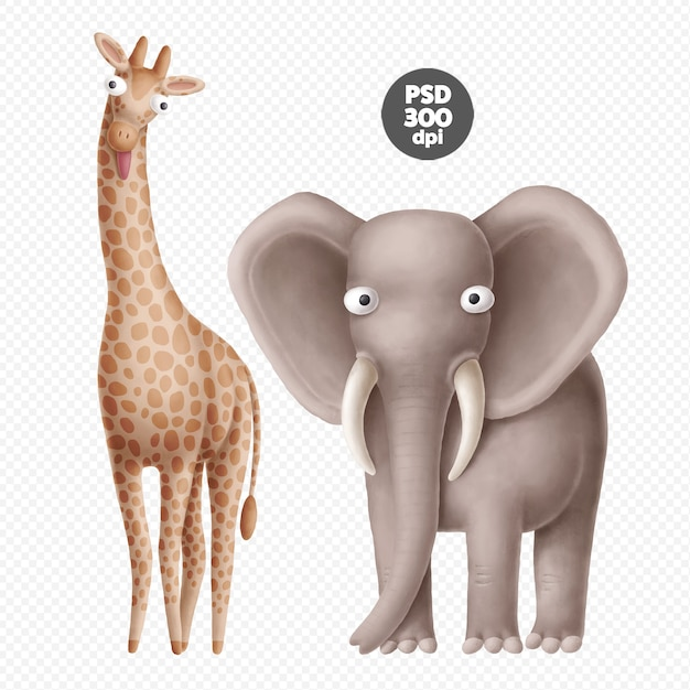 Cute safari animals characters isolated Premium Psd