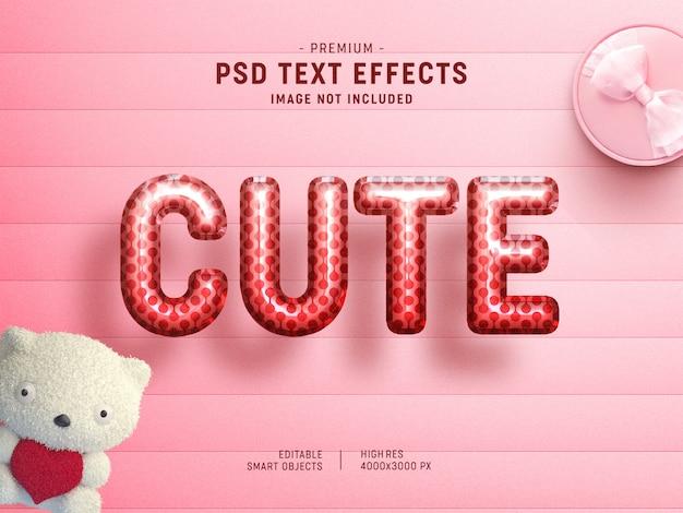 Cute valentine balloon text effect template Premium Psd