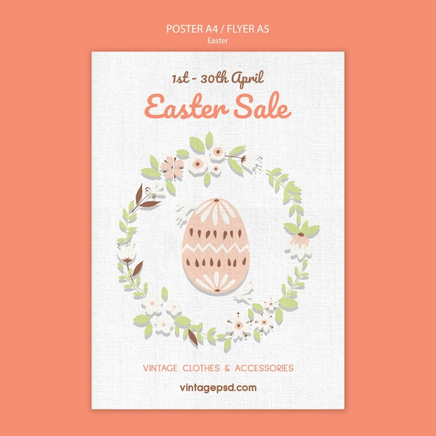 Cute vintage easter flyer template Free Psd