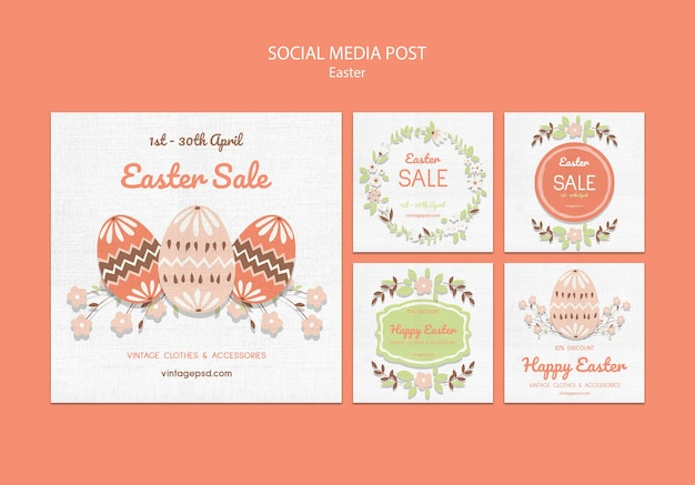 Cute vintage easter social media posts Free Psd