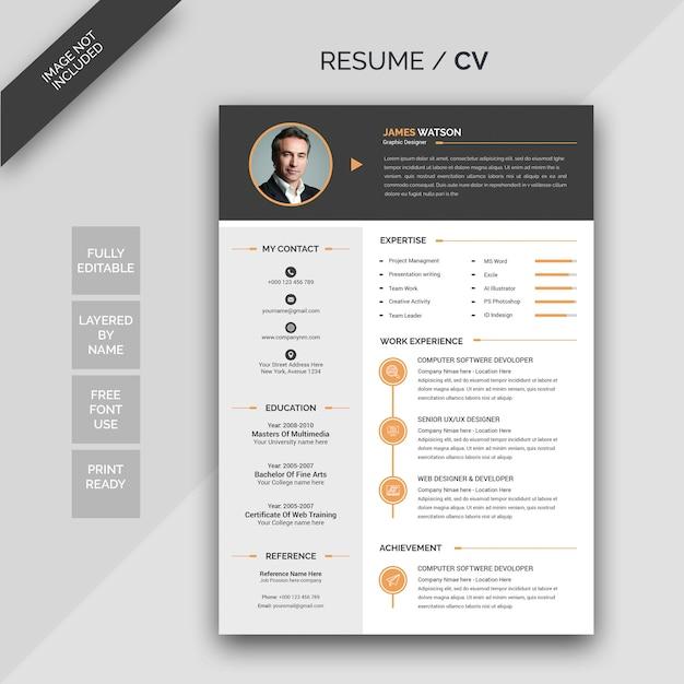 Cv resume Premium Psd