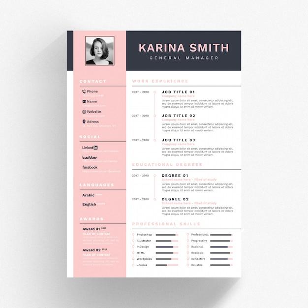 ピンクと黒の詳細を持つ白のcvテンプレート Premium Psd