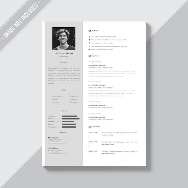 Белый шаблон cv с серебряными деталями Бесплатные Psd