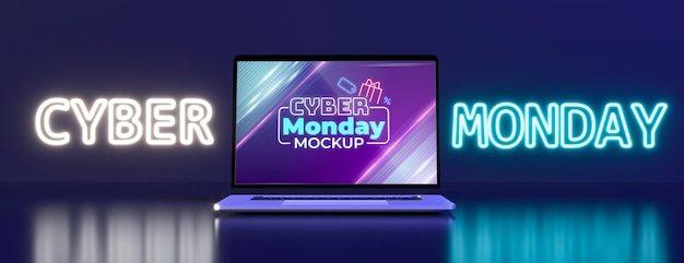 Disposizione del cyber lunedì con un nuovo modello di laptop Psd Gratuite