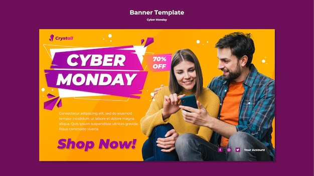 Cyber monday banner template Free Psd