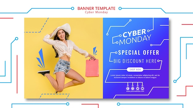 Cyber monday circuit banner template Free Psd