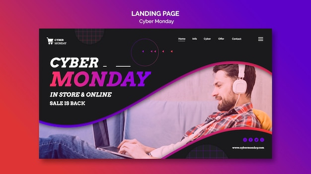 Cyber monday concept landing page template Free Psd